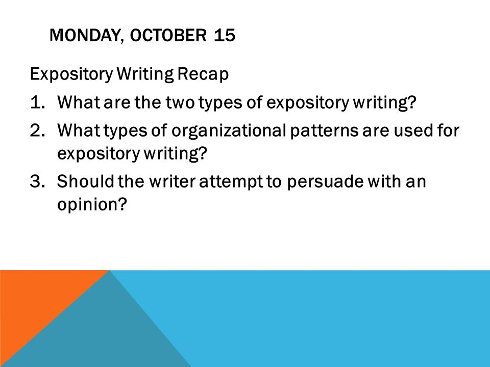 3 types of expository essays Descriptive writing is used in descriptions of fictional and non-fictional characters, poetry parts of book reports, and in various kinds of observational writing expository expository writing is to-the-point and factual this category of writing includes definitions, instructions, directions and other basic comparisons and clarifications.