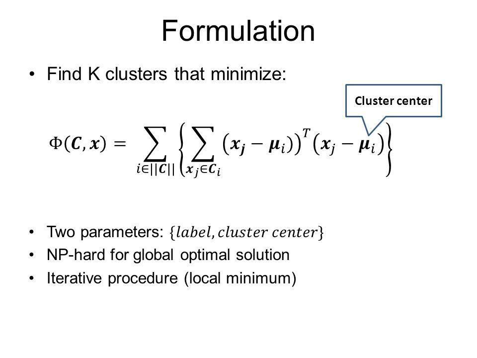 Formulation Cluster center