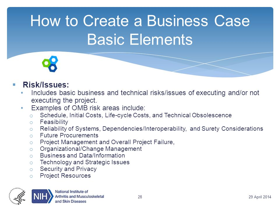 How to Create a Business Case Basic Elements  Risk/Issues: Includes basic business and technical risks/issues of executing and/or not executing the p