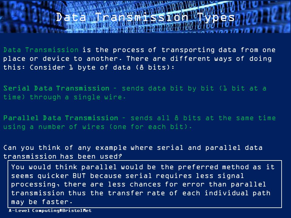 A-Level Computing#BristolMet Data Transmission Types Data Transmission is the process of transporting data from one place or device to another. There