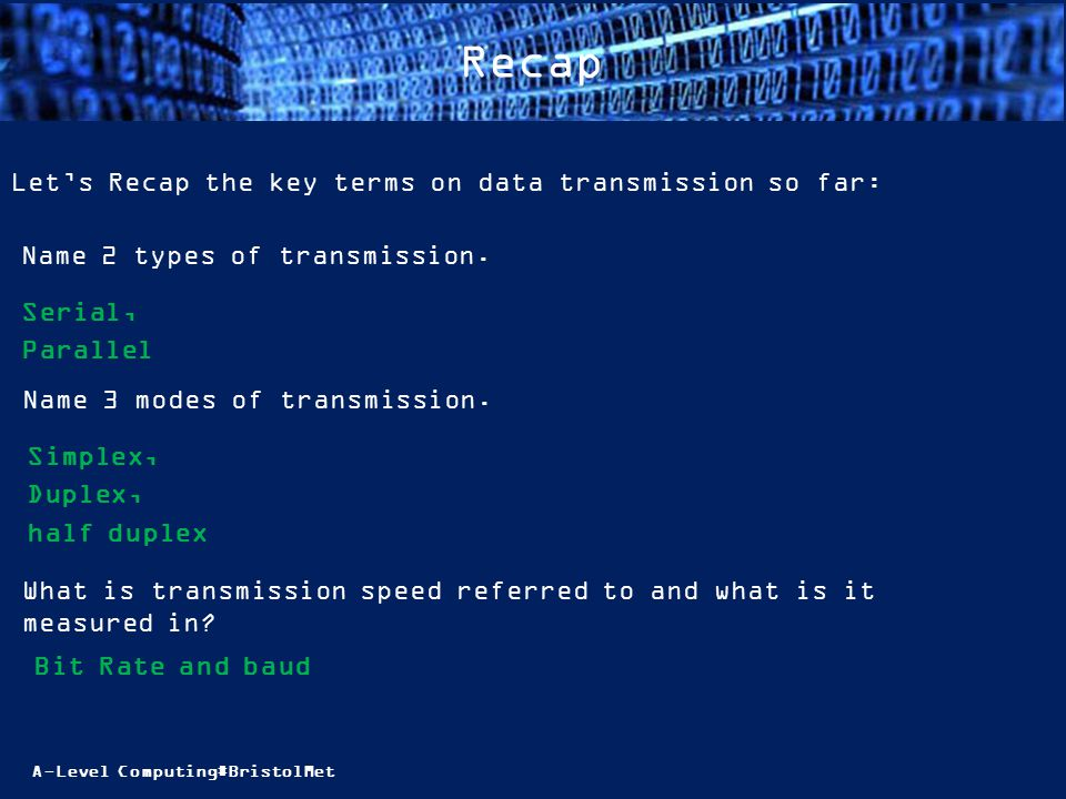 A-Level Computing#BristolMet Recap Let's Recap the key terms on data transmission so far: Name 2 types of transmission.