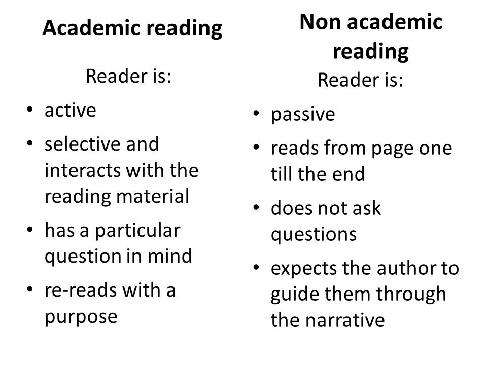 Academic reading Reader is: active selective and interacts with the reading material has a particular question in mind re-reads with a purpose Non aca