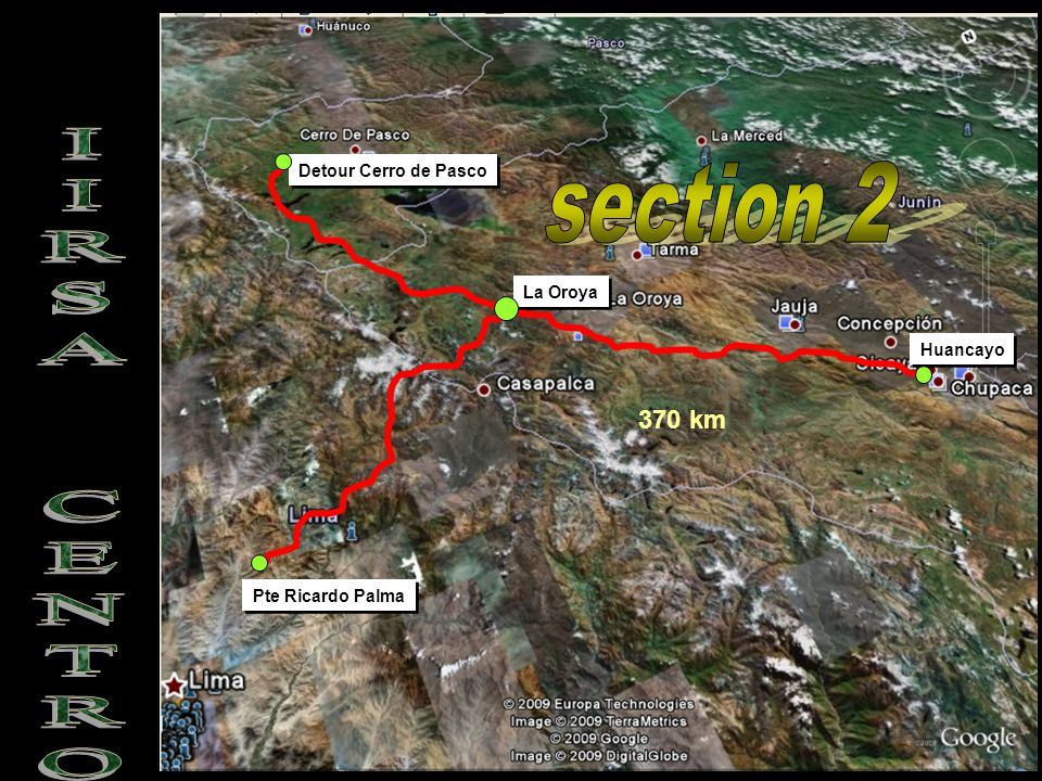 Pte Ricardo Palma Detour Cerro de Pasco La Oroya Huancayo 370 km
