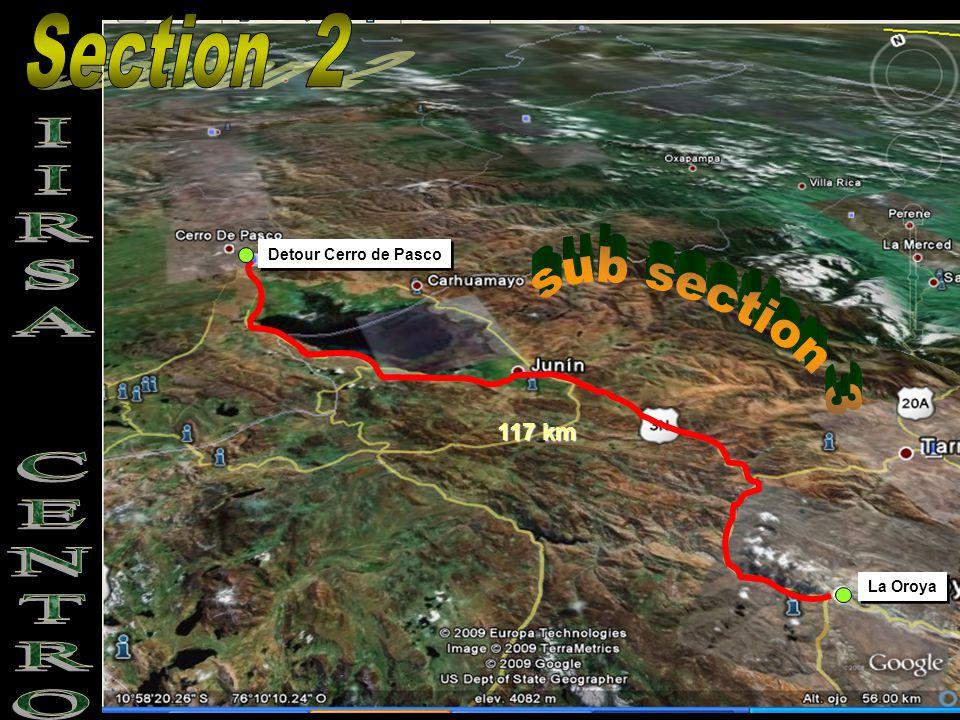 La Oroya Detour Cerro de Pasco 117 km