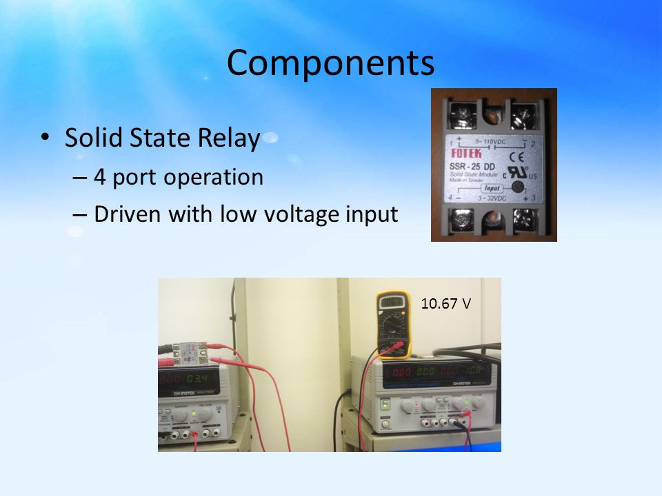 Components Solid State Relay – 4 port operation – Driven with low voltage input 10.67 V