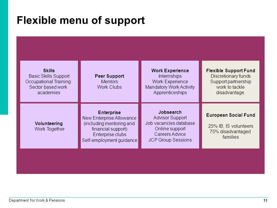 11 Department for Work & Pensions Flexible menu of support Peer Support Mentors Work Clubs Work Experience Internships Work Experience Mandatory Work