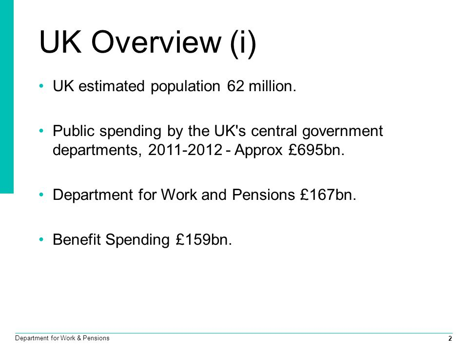 2 Department for Work & Pensions UK Overview (i) UK estimated population 62 million. Public spending by the UK's central government departments, 2011-