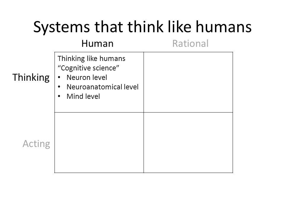 "Systems that think like humans Thinking like humans ""Cognitive science"" Neuron level Neuroanatomical level Mind level Human Rational Thinking Acting"