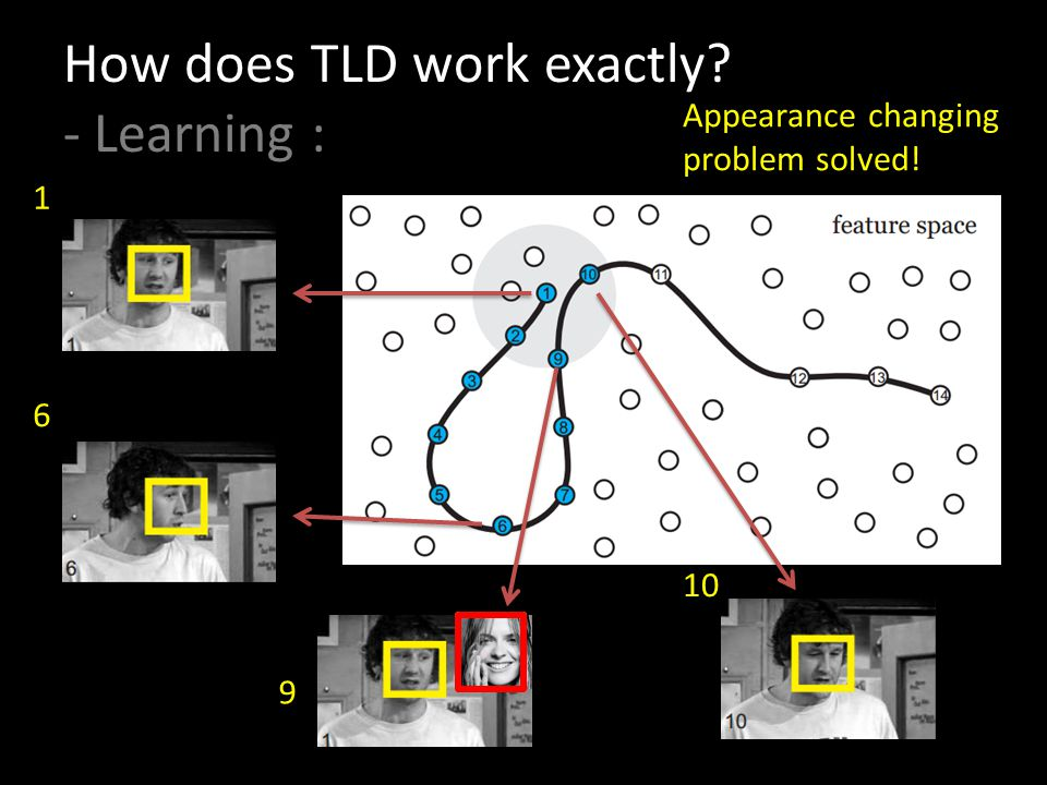 How does TLD work exactly? - Learning : 1 6 10 Appearance changing problem solved! 9