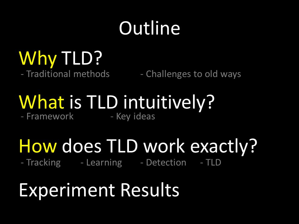 Outline - Framework- Key ideas What is TLD intuitively.