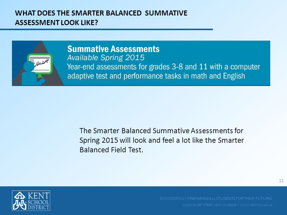 SUCCESSFULLY PREPARING ALL STUDENTS FOR THEIR FUTURES 12033 SE 256 TH STREET, KENT, WA 98030 | WWW.KENT.K12.WA.US WHAT DOES THE SMARTER BALANCED SUMMATIVE ASSESSMENT LOOK LIKE.