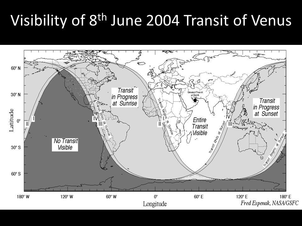 Visibility of 8 th June 2004 Transit of Venus
