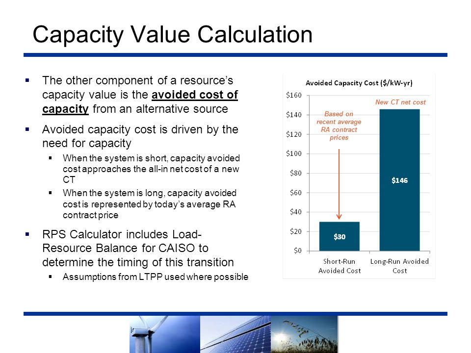 Capacity Value Calculation  The other component of a resource's capacity value is the avoided cost of capacity from an alternative source  Avoided c