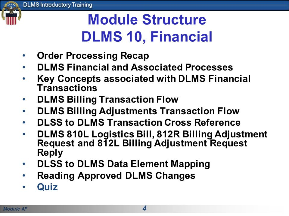 Module 4F 35 DLMS Introductory Training DLSS - DLMS Cross Reference Extract from DLSS- DLMS Cross Reference