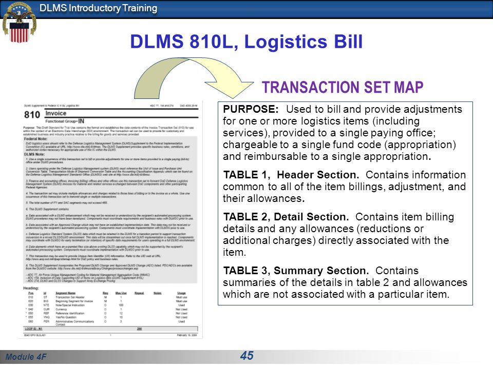 Module 4F 45 DLMS Introductory Training DLMS 810L, Logistics Bill PURPOSE: Used to bill and provide adjustments for one or more logistics items (inclu