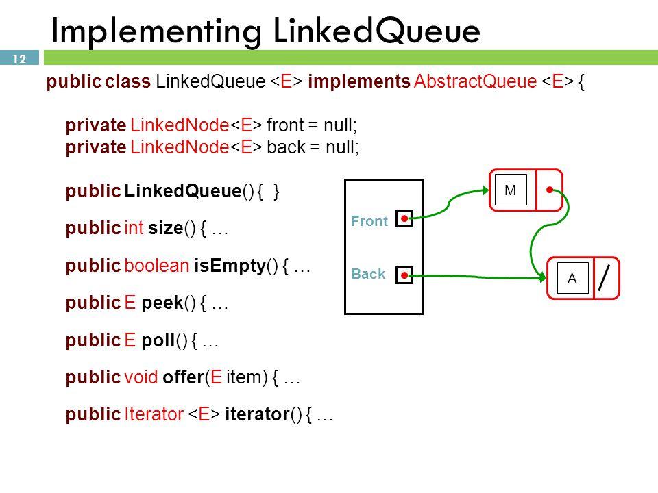 12 Implementing LinkedQueue public class LinkedQueue implements AbstractQueue { private LinkedNode front = null; private LinkedNode back = null; publi