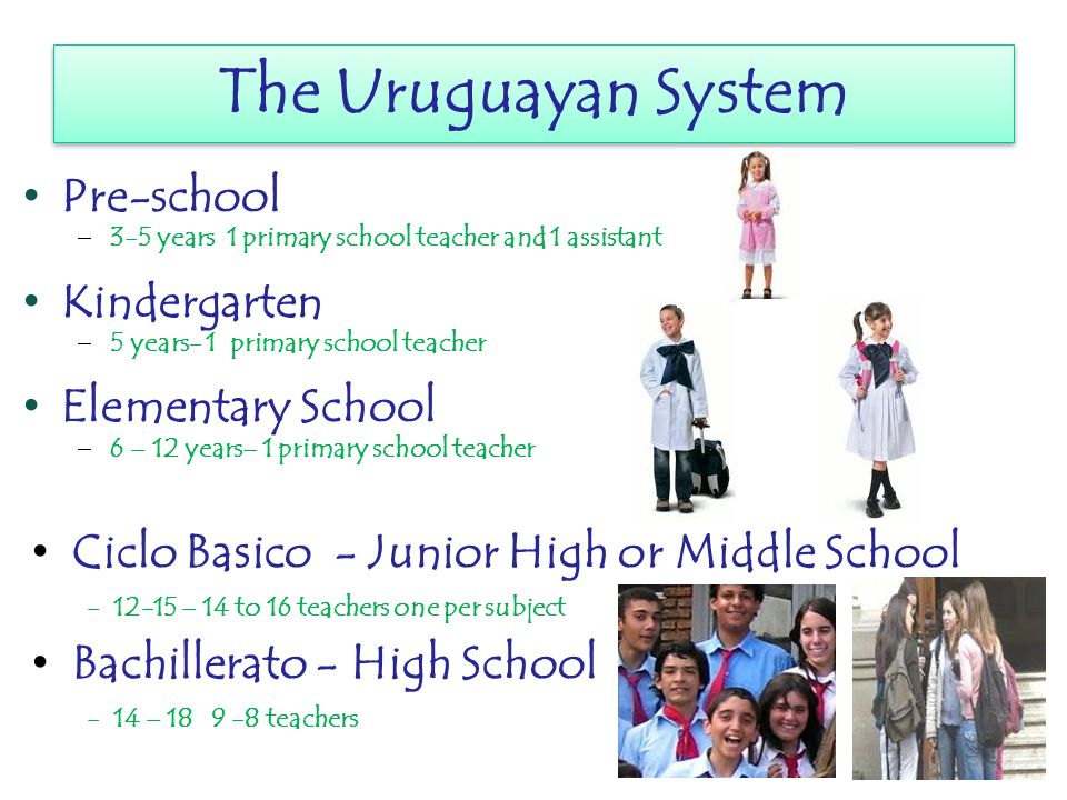 The Uruguayan System The Uruguayan System Pre-school 33-5 years 1 primary school teacher and 1 assistant Kindergarten 55 years- 1 primary school teacher Elementary School 66 – 12 years– 1 primary school teacher Ciclo Basico - Junior High or Middle School - 12-15 – 14 to 16 teachers one per subject Bachillerato - High School - 14 – 18 9 -8 teachers