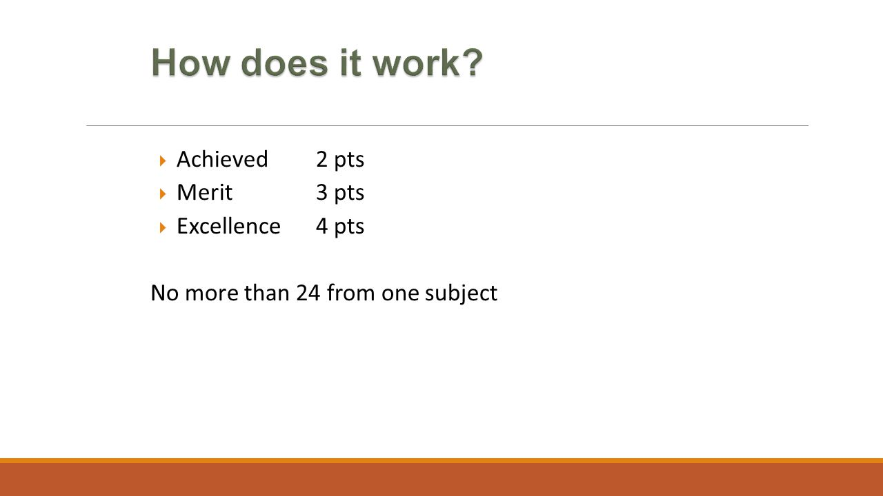  Achieved 2 pts  Merit 3 pts  Excellence 4 pts No more than 24 from one subject
