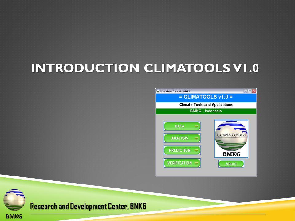 BMKG INTRODUCTION CLIMATOOLS V1.0