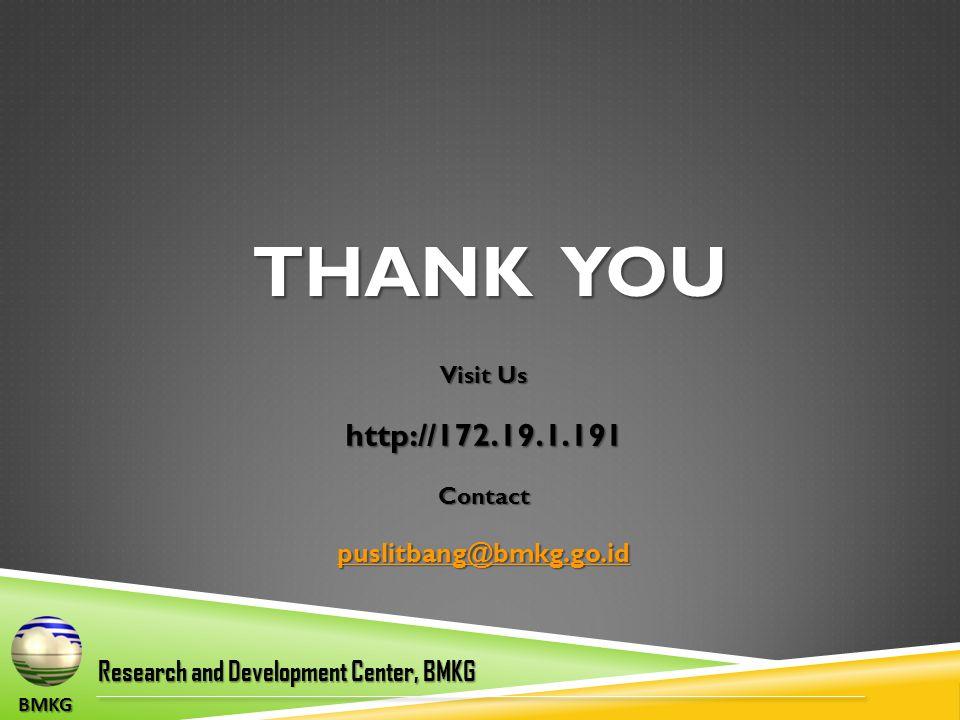 THANK YOU BMKG Research and Development Center, BMKG Visit Us http://172.19.1.191Contact puslitbang@bmkg.go.id