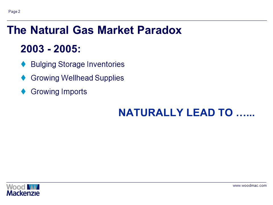 www.woodmac.com Page 2 The Natural Gas Market Paradox 2003 - 2005: tBulging Storage Inventories tGrowing Wellhead Supplies tGrowing Imports NATURALLY