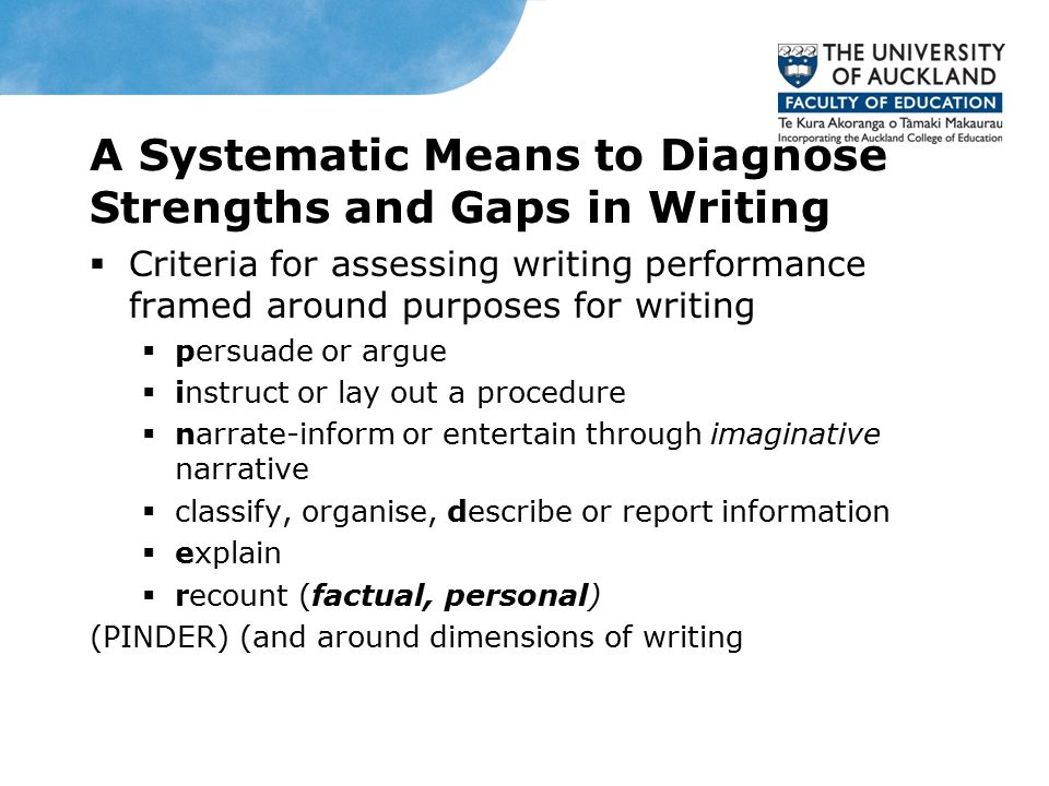 A Systematic Means to Diagnose Strengths and Gaps in Writing  Criteria for assessing writing performance framed around purposes for writing  persuade or argue  instruct or lay out a procedure  narrate-inform or entertain through imaginative narrative  classify, organise, describe or report information  explain  recount (factual, personal) (PINDER) (and around dimensions of writing