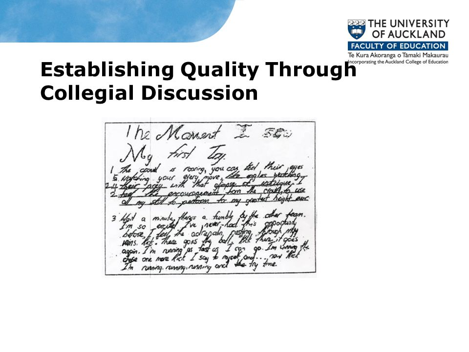 Establishing Quality Through Collegial Discussion