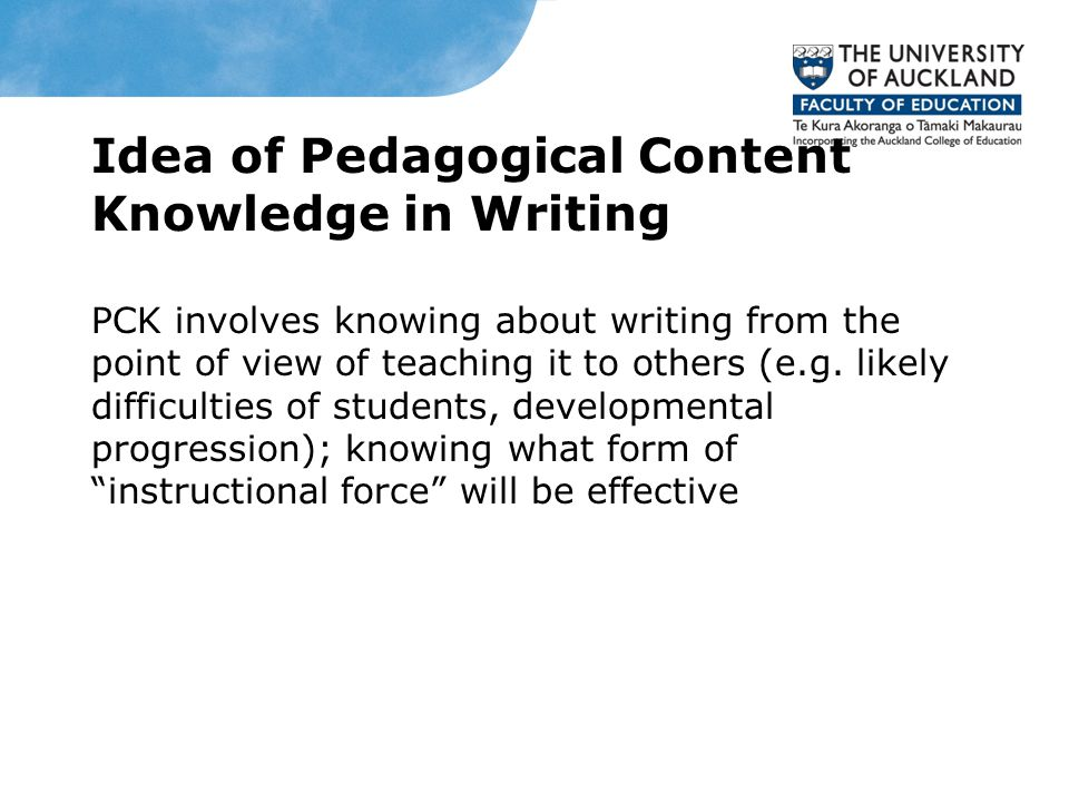 Idea of Pedagogical Content Knowledge in Writing PCK involves knowing about writing from the point of view of teaching it to others (e.g.