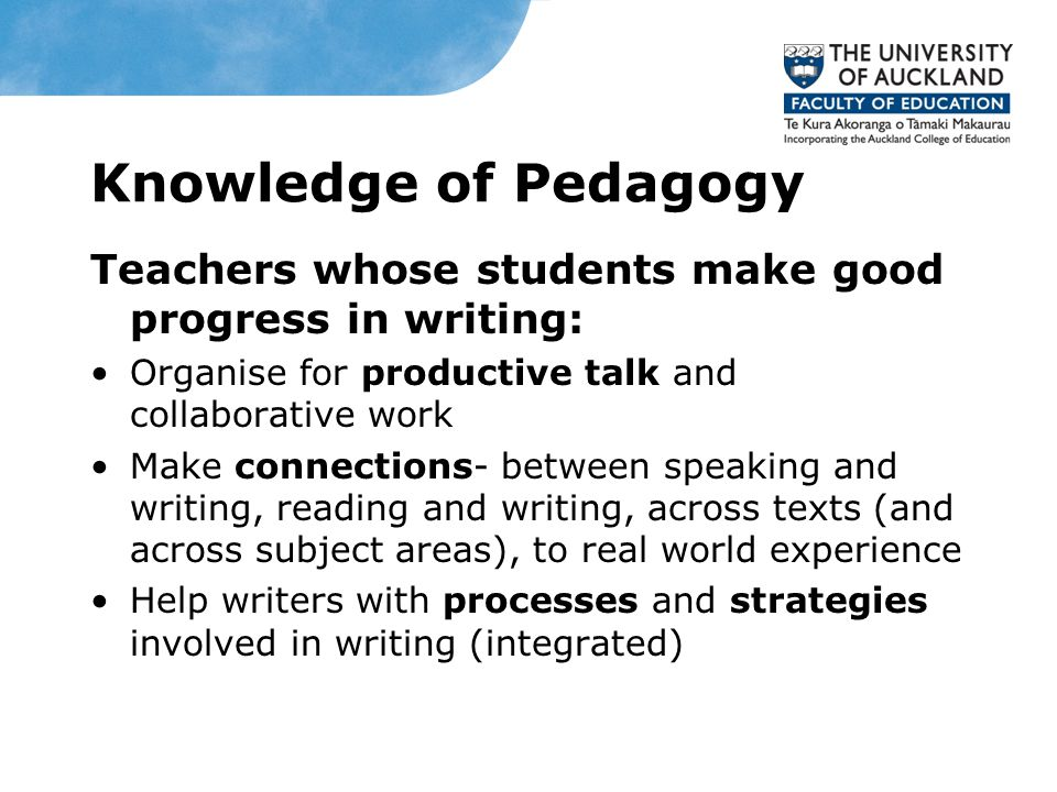 Knowledge of Pedagogy Teachers whose students make good progress in writing: Organise for productive talk and collaborative work Make connections- between speaking and writing, reading and writing, across texts (and across subject areas), to real world experience Help writers with processes and strategies involved in writing (integrated) Date