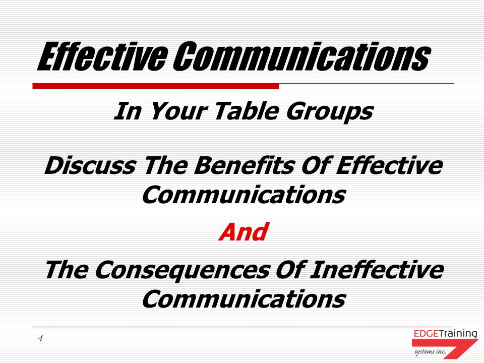 3 Course Objectives Discuss The Benefits Of Effective Communications Establish Guidelines To Improve Our Communications Skills Recognize The Value Of