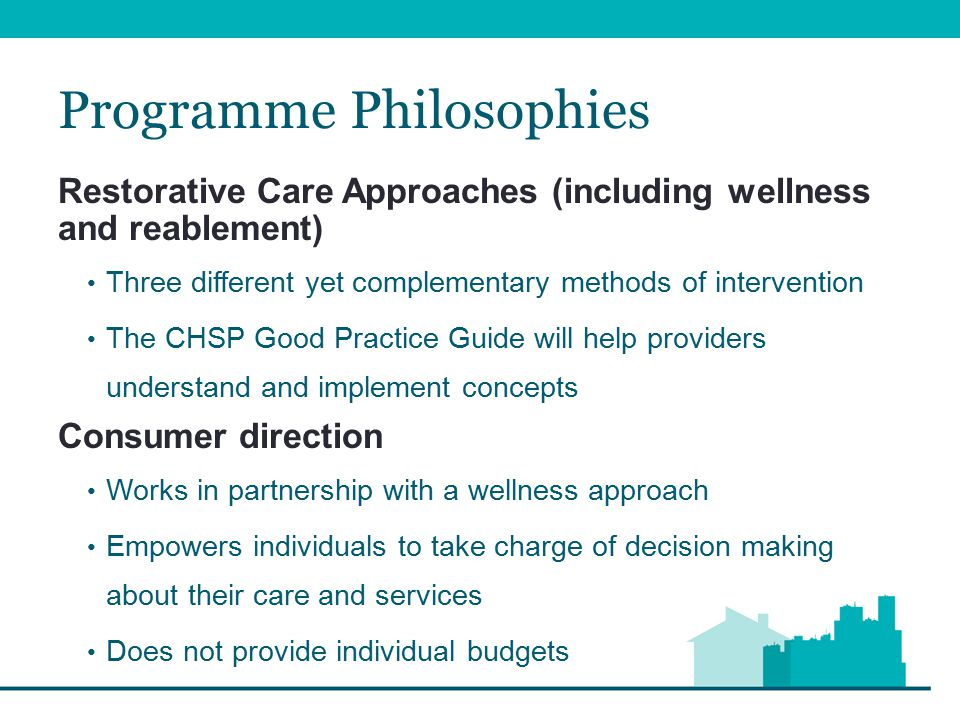 Structure of the CHSP The CHSP is structured around four main sub- programmes based on target groups: Community and Home Support Care Relationships and Carer Support Assistance with Care and Housing Service System Development