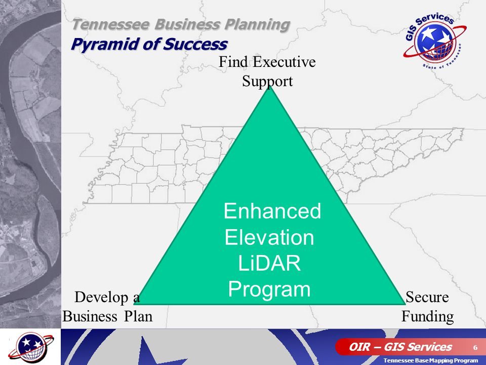 OIR – GIS Services 6 Tennessee Base Mapping Program Enhanced Elevation LiDAR Program Tennessee Business Planning Pyramid of Success Find Executive Sup