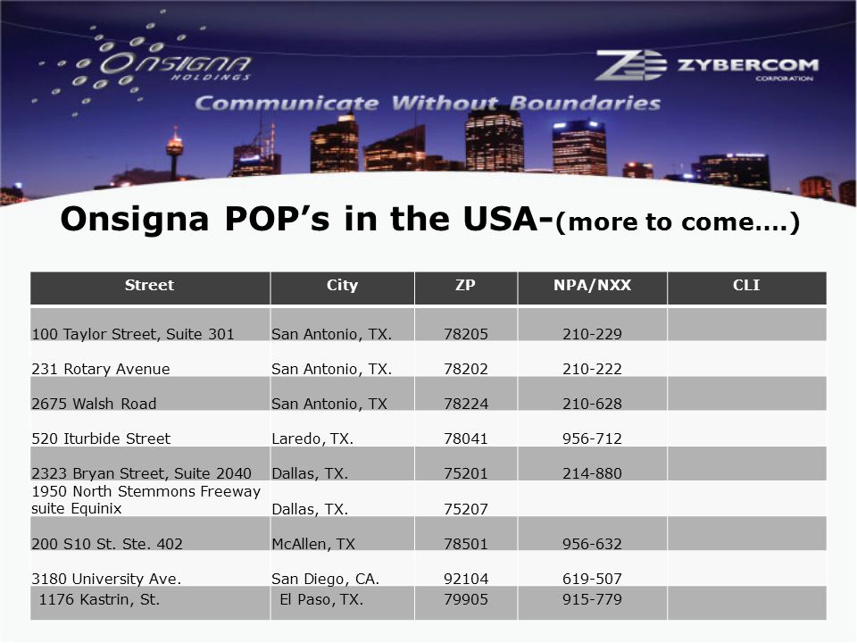 Onsigna POP's in the USA- (more to come….) StreetCityZPNPA/NXXCLI 100 Taylor Street, Suite 301San Antonio, TX.78205210-229 231 Rotary AvenueSan Antonio, TX.78202210-222 2675 Walsh RoadSan Antonio, TX78224210-628 520 Iturbide StreetLaredo, TX.78041956-712 2323 Bryan Street, Suite 2040Dallas, TX.75201214-880 1950 North Stemmons Freeway suite EquinixDallas, TX.75207 200 S10 St.