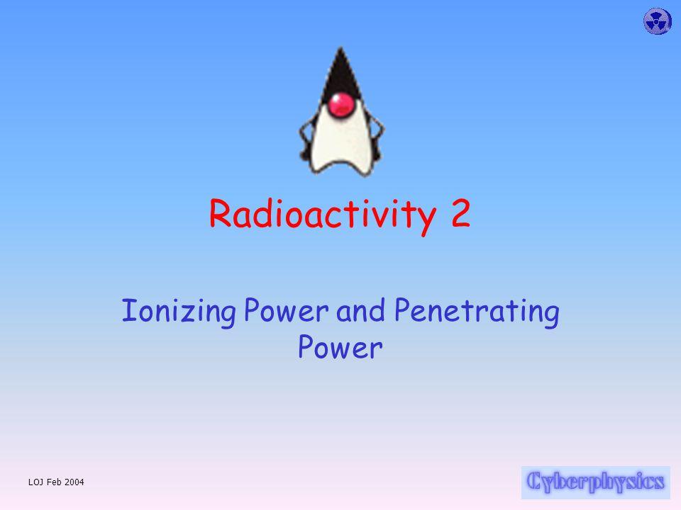 LOJ Feb 2004 Radioactivity 2 Ionizing Power and Penetrating Power