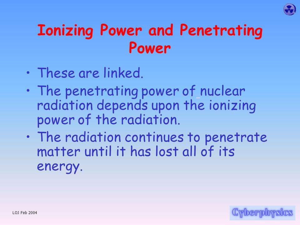 LOJ Feb 2004 Recap... Alpha  radiation consists of helium nuclei, particles are made up of two protons and two neutrons. Beta  radiation consists of