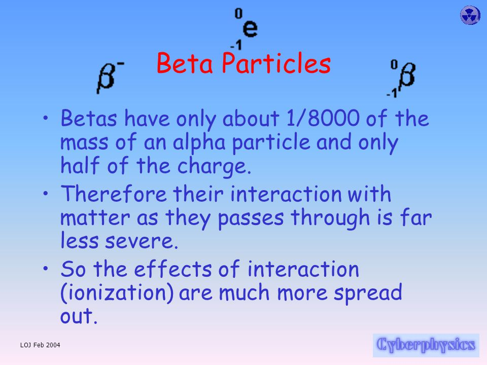 LOJ Feb 2004 Beta Particles Betas have only about 1/8000 of the mass of an alpha particle and only half of the charge.