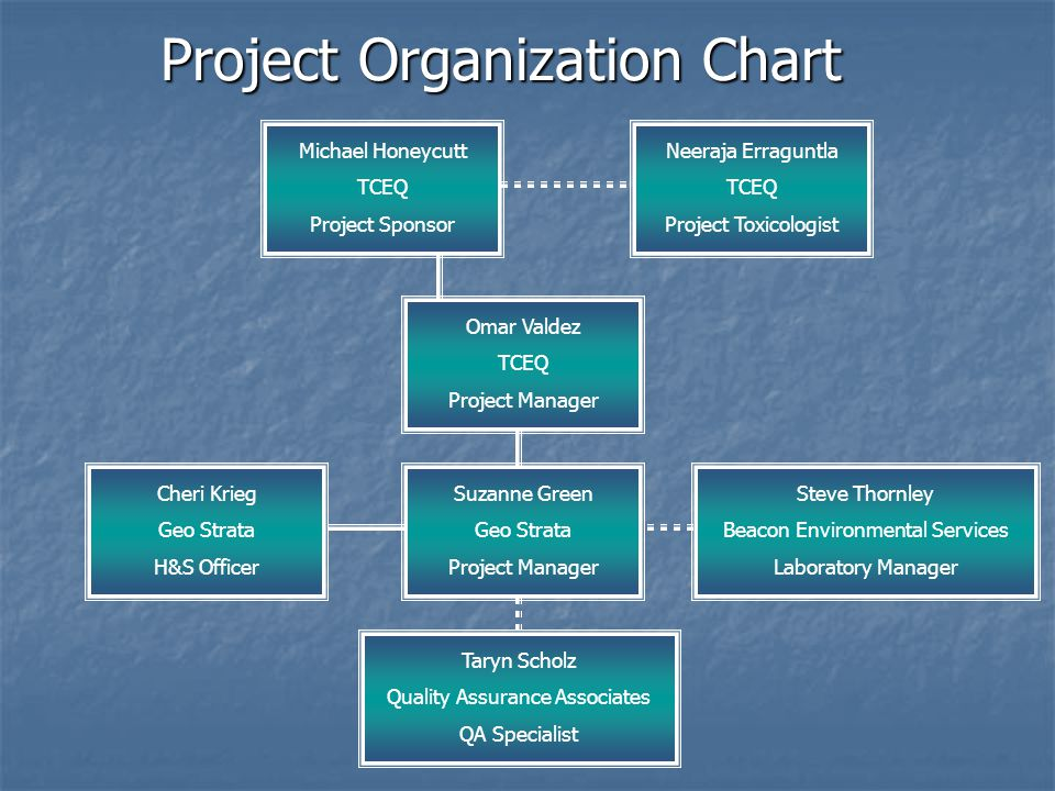 Project Organization Chart Michael Honeycutt TCEQ Project Sponsor Neeraja Erraguntla TCEQ Project Toxicologist Omar Valdez TCEQ Project Manager Cheri Krieg Geo Strata H&S Officer Suzanne Green Geo Strata Project Manager Steve Thornley Beacon Environmental Services Laboratory Manager Taryn Scholz Quality Assurance Associates QA Specialist