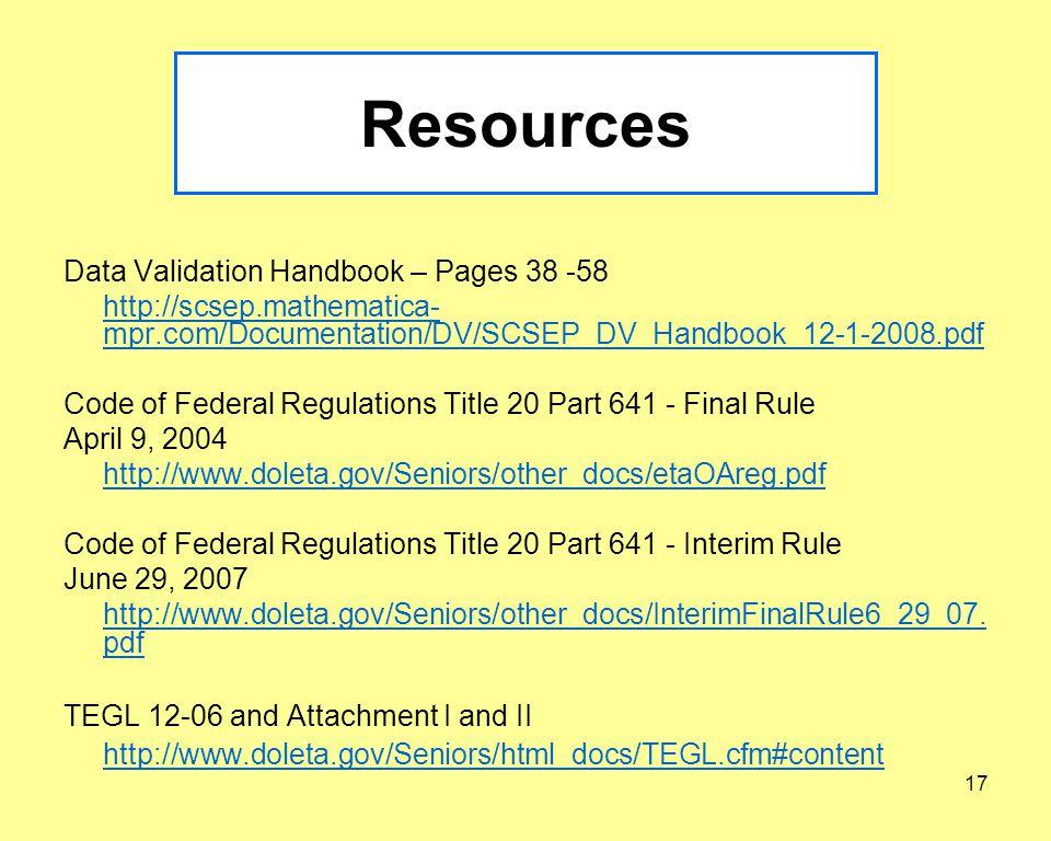 16 Data Validation Recap What is Data Validation (DV).