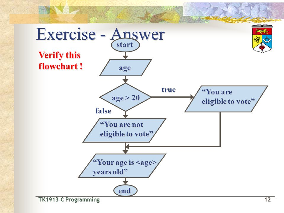 TK1913-C Programming12 TK1913-C Programming 12 Exercise - Answer true false You are eligible to vote age start end Your age is years old age > 20 Verify this flowchart .