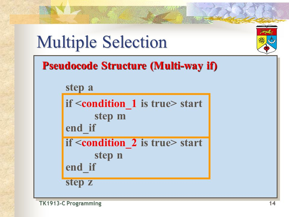 TK1913-C Programming14 TK1913-C Programming 14 Multiple Selection Pseudocode Structure (Multi-way if) step a if start step m end_if if start step n end_if step z Pseudocode Structure (Multi-way if) step a if start step m end_if if start step n end_if step z