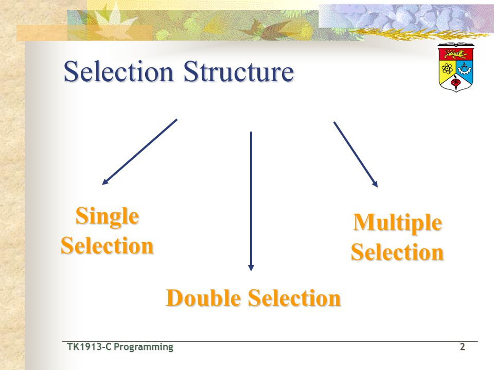 TK1913-C Programming2 TK1913-C Programming 2 Selection Structure Single Selection Double Selection Multiple Selection