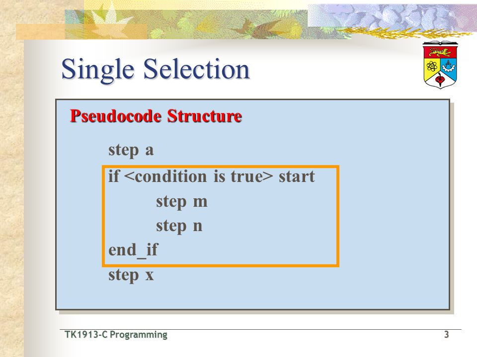 TK1913-C Programming3 TK1913-C Programming 3 Single Selection Pseudocode Structure step a if start step m step n end_if step x Pseudocode Structure step a if start step m step n end_if step x