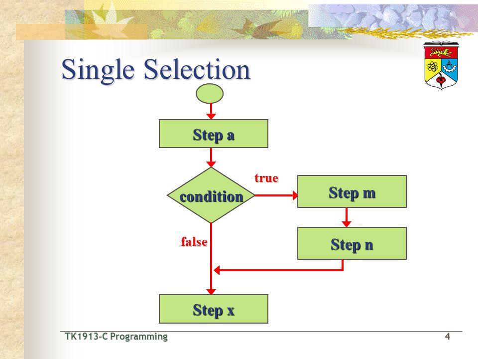 TK1913-C Programming4 TK1913-C Programming 4 Single Selection Step a condition Step m Step n Step x true false Step a condition Step m Step n Step x t