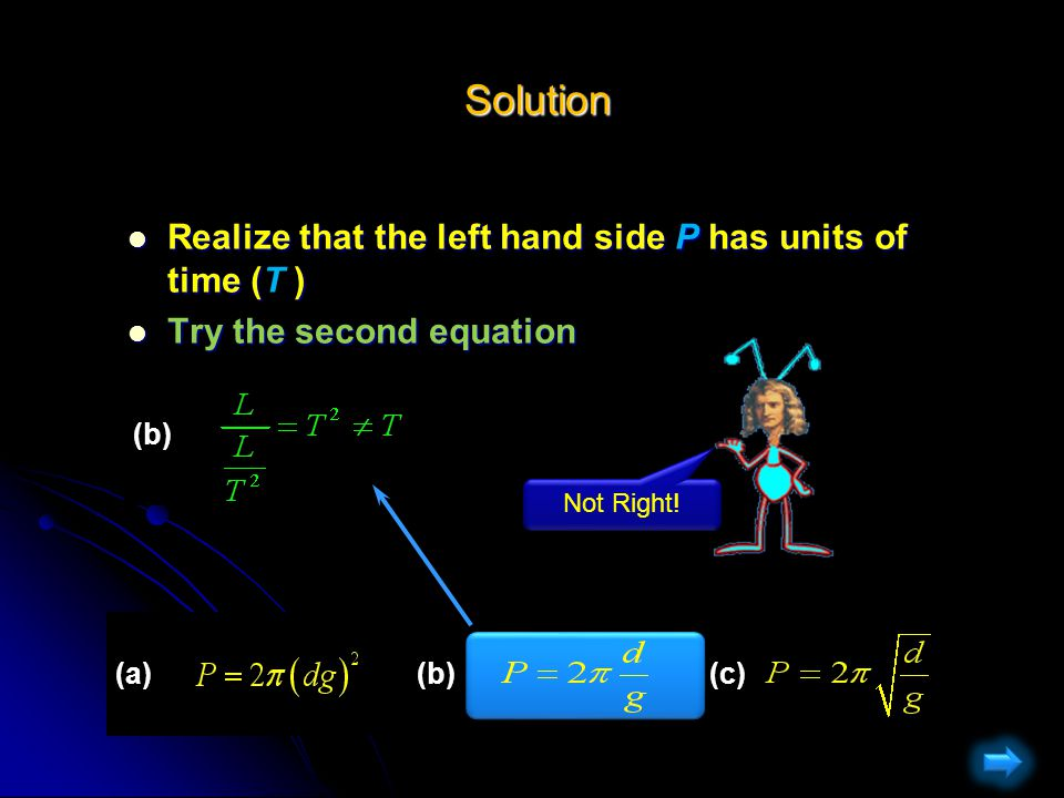 Solution Solution Realize that the left hand side P has units of time (T ) Realize that the left hand side P has units of time (T ) Try the first equation Try the first equation (a)(b)(c) (a) Not Right!