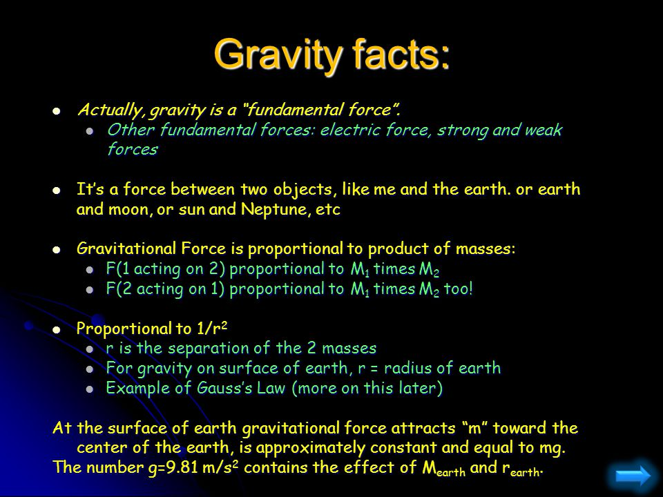Gravity facts: g does not depend on the nature of the material.