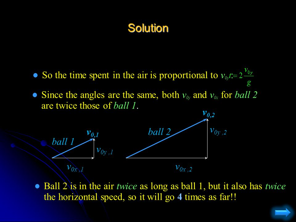Solution l The distance a ball will go is simply x = (horizontal speed) x (time in air) = v 0x t l To figure out time in air , consider the equation for the height of the ball: l When the ball is caught, y = y 0 (time of throw) (time of catch) two solutions