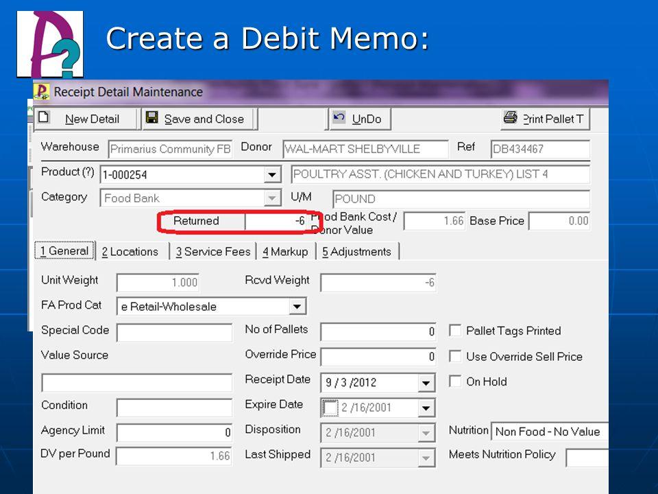 Create a Debit Memo:
