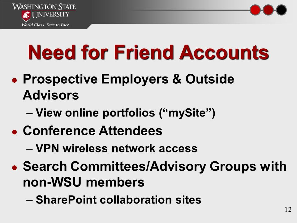 12 Need for Friend Accounts Prospective Employers & Outside Advisors –View online portfolios ( mySite ) Conference Attendees –VPN wireless network access Search Committees/Advisory Groups with non-WSU members –SharePoint collaboration sites