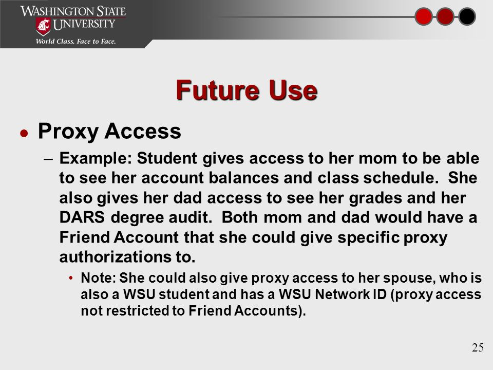 25 Future Use Proxy Access –Example: Student gives access to her mom to be able to see her account balances and class schedule.