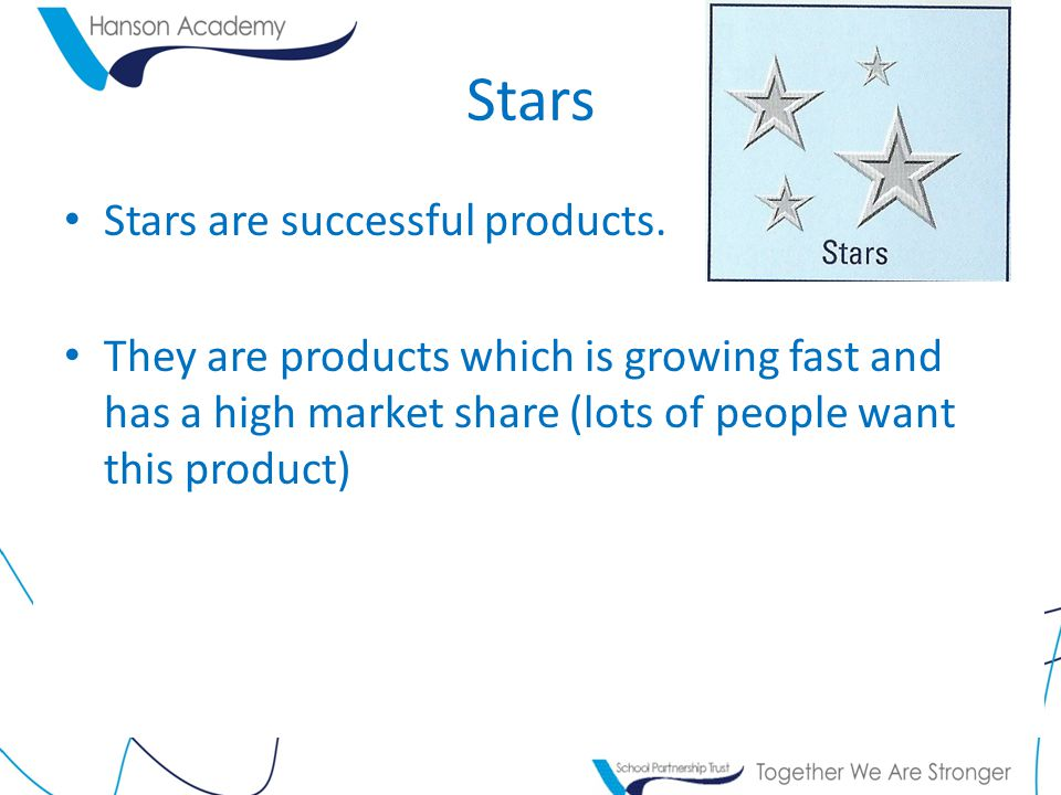 Stars Stars are successful products. They are products which is growing fast and has a high market share (lots of people want this product)